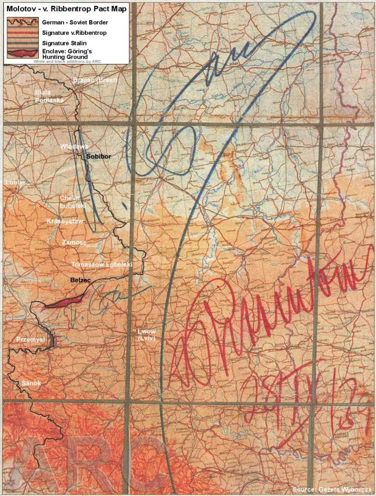 Nazi-Soviet border that goes right next to Sieniawa and Jaroslaw