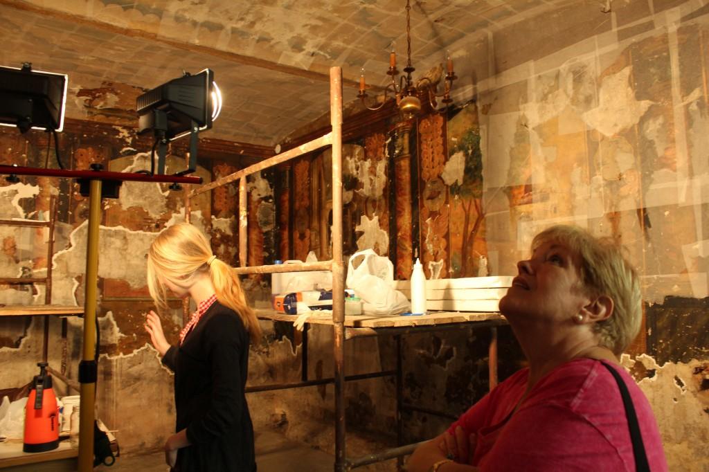 Paula admiring restoration works at Mizrachi prayer house