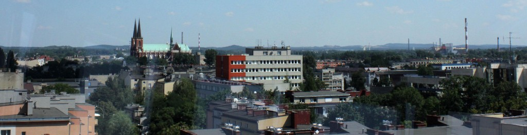 Skyline of Częstochowa – dominated by churches and closed industrial plants. A view on the eastern part of the city from the tower of the old town hall.