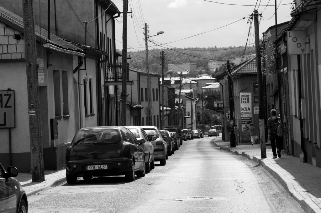 The old town street leading to the part of Wolbrom built under communism. In spite of big investments in the 60ties the town never reached its prewar population level, when 50% of the inhabitants were Jewi